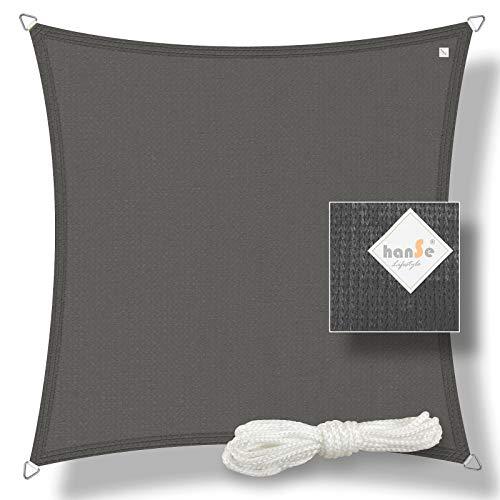 hanSe® Marken Sonnensegel Sonnenschutz Wetterschutz Wetterbeständig HDPE Gewebe UV-Schutz Quadrat 2x2 m Graphit