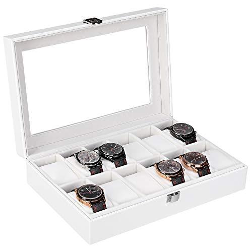 Femor Uhrenbox für 12 Uhren Watch Box, Uhrenkoffer mit Glasdeckel,Uhrenkasten Aufbewahrung aus PU Leder und Samt Weiß