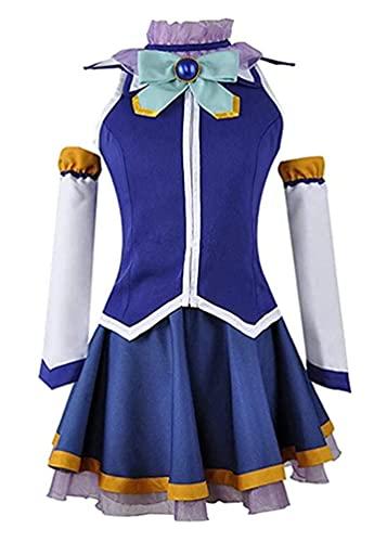 MayMaxPlay Womens Aqua KonoSuba Cosplay Costume Dress Megumin Satou Kazuma Cosplay Uniform Wig Halloween Outfits (Aqua, M)