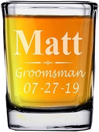 Custom Engraved Groomsmen Bridesmaid Shot Glasses Personalized Square Shot Glass Wedding Party product image