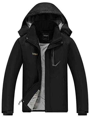 Mden Men's Insulated Jacket Snowboard Hooded Waterproof Mountain Ski Jacket Winter Coat(Black,...