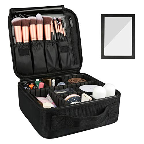 Rosmax Travel Makeup Bag,Portable Organizer Makeup Cosmetic Train Case with Mirror - Large Capacity and Adjustable Dividers for Cosmetics Makeup Brushes and Toiletry Jewelry for More Storage