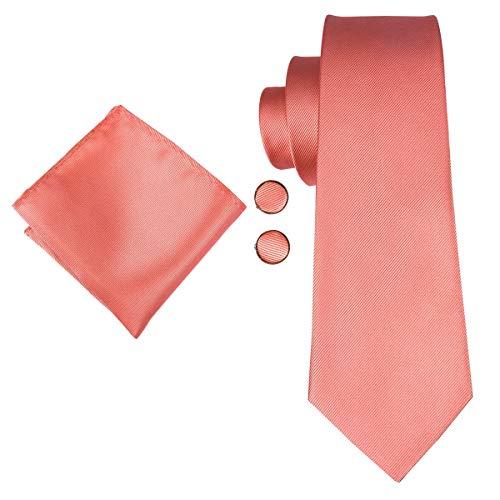 CDBGPZLD Men Coral Ties Krawatte aus fester Seide für Hochzeit Designer Krawatte Set Pink Boutonniere Manschettenknöpfe Business Tie 150cm