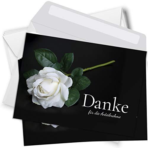 Trauer Danksagungskarten mit Umschlag   Motiv: Rose weiß, 15 Stück   Dankeskarten DIN A6 Set   Trauerkarten Danksagung Danke sagen