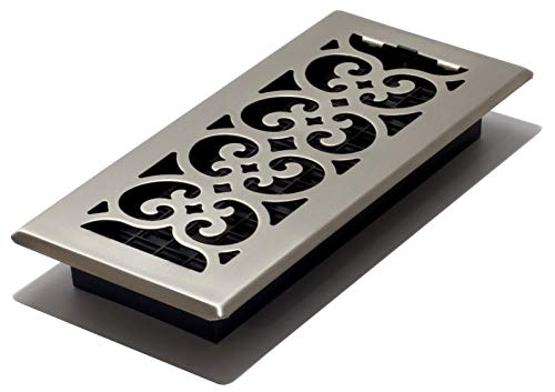 Decor Grates SPH410-NKL 4 10-Inch Scroll Floor Register, 4x10, Brushed Nickel Finish