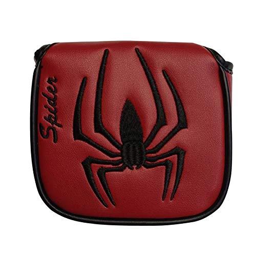ヘッドカバー パターカバー マレット用 オデッセイ2ボール・テーラーメイド スパイダーパターに対応 スパイダー模様 黒 赤 (方形赤)