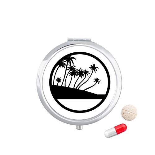 DIYthinker zwarte kokosnoot boom plant strand Travel Pocket Pill Case Medicine Drug Opbergdoos Dispenser Spiegel Gift