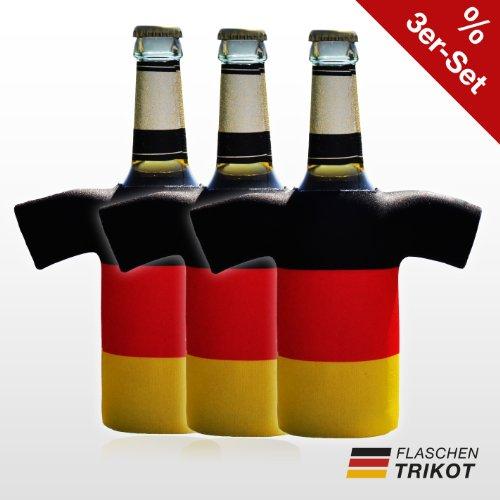 AJCoolers Flaschentrikot Deutschland 3er Set - Flaschenkühler, Bierkühler, Getränkekühler aus Neopren - Fanartikel und Partyspaß zum Grillen, Public Viewing und Feiern