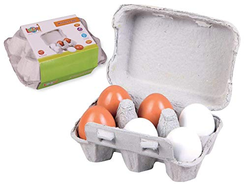 Lelin 6 huevos falsos de madera en cartón Pretend Play Pre-School Juguete educativo de cocina de alimentos de juguete