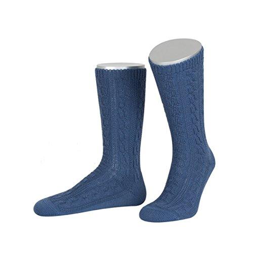 Trachtensocken zur Lederhose in blau von Lusana, Größe:44/45, Farbe:Blau