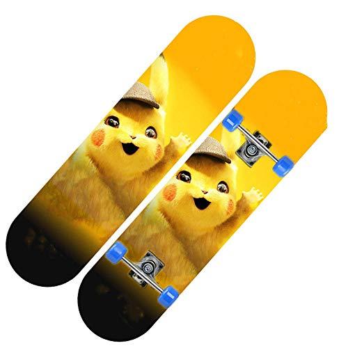 Nowsend Professionelles Skateboard Holzskateboard, geeignet für Erwachsene, Jugendliche und Kinder-Gelbe Katze_80 * 20