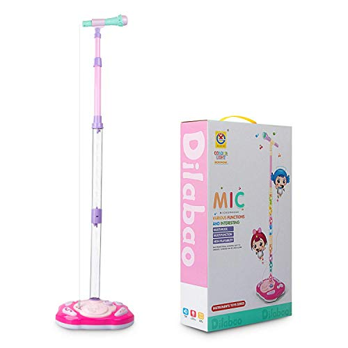 aPerfectLife Rechargeable Kids Karaoke Machine, Kids Microphone Music Toy Play Set with Microphone & Adjustable Stand, AUX Cable Connect to Electronic Devices