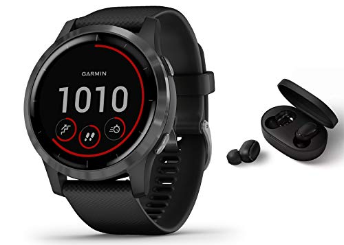 Garmin Vivoactive 4 schlanke, wasserdichte GPS-Fitness-Smartwatch mit Trainingsplänen & animierten Übungen, Schwarz + BT Headset