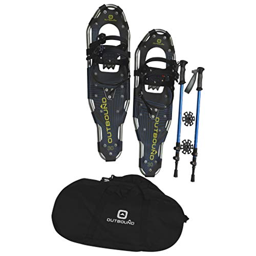 OUTBOUND Snowshoes Kit | Lightweight Aluminum Snowshoes with Adjustable Poles and Bag | Men and Women | 25 Inches