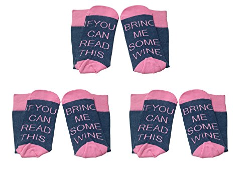 3 Pairs Women's Cotton Funny Crew Socks Novelty Funky Cute Wine Party Hosiery (Pink Blue)