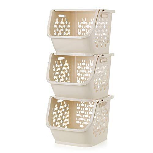 QsunQ 3-Set Stackable Storage Bins with Lids for KitchenBathroomsBedroomsClosets Cabinets Household Plastic Organization Baskets for Pantry Storage Organizer Bin Basket 12x11x10inch Beige
