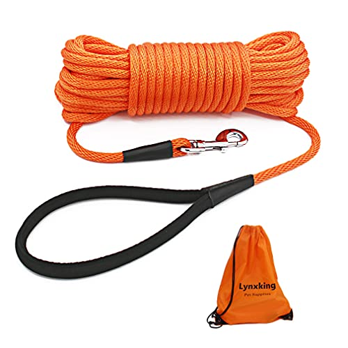 lynxking Check Cord Dog Leash Long Lead Training Tracking Line with Comfortable Handle Heavy Duty Puppy Rope Lead for Small Medium Large Dogs