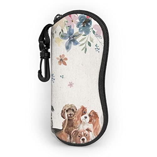 zsst Estuche portátil para gafas de sol de neopreno con cremallera para perros y cachorros de labrador de perros y flores, protector para gafas de sol para hombres y mujeres o niños