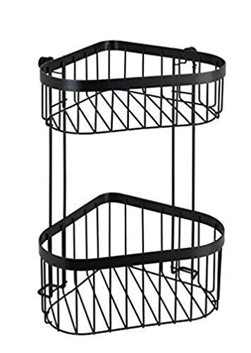 WENKO Étagère d'angle à 2 niveaux Classic Plus noir - Étagère d'angle, étagère murale d'angle avec protection antirouille de qualité supérieure, Acier