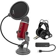 Blue Yeti USB Microphone (Red) bundle with Knox Gear Pop Filter, 3.0 4 Port USB Hub and Studio Headphones (4 Items)