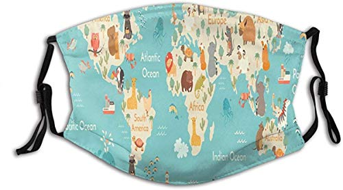 made in usa Animals World map Children Kids Poster Washable Reusable Filter and Reusable Mouth Warm Windproof