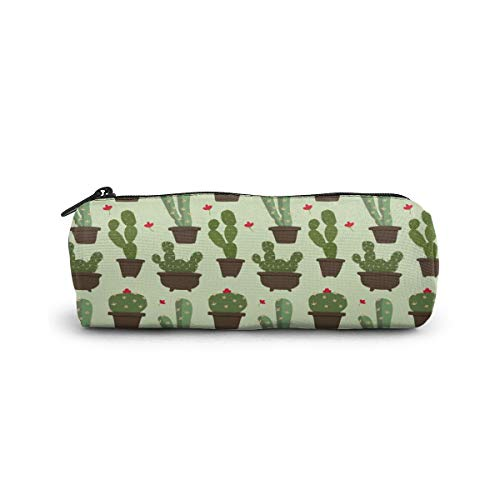 Cylinder Cosmetic Bag Flat Cactus Pencil Case Small