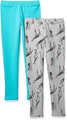 Amazon-Marke: Spotted Zebra Gemütliche Mädchen Leggings, 2er-Pack, Giraffe/Teal, US S (6-7) (EU 116 CM)