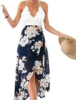 Blooming Jelly Vestidos Maxi Florales asimétricos del cordón del Halter de Las Mujeres para el Verano de Las Mujeres