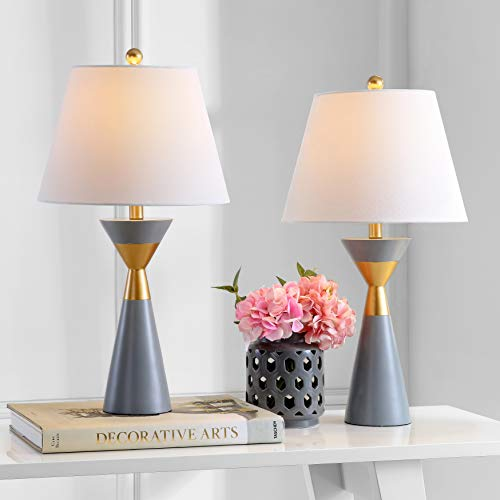 Safavieh Lighting Collection Lian Grey/Gold 27-inch Bedroom Living Room Home Office Desk Nightstand Table Lamp (Set of 2) - LED Bulbs Included