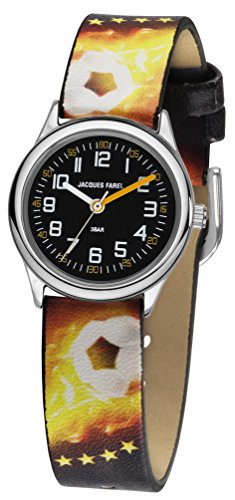 JACQUES FAREL Kinder-Armbanduhr Jungen Fußball Analog Quarz Metall Leatherette HCC 999