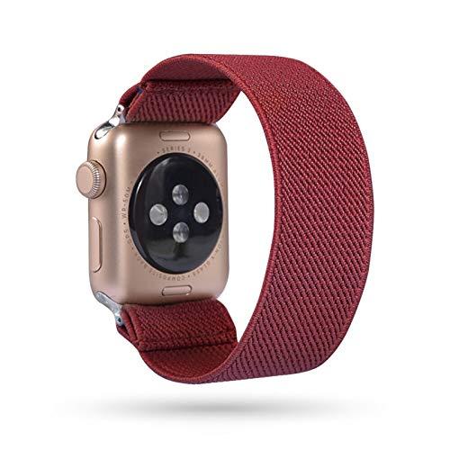 PGGFA Loop Banda Bohemia elástico de Nylon for Apple Seguir 6SE Correa 38/40 mm 42/44 mm for IWATCH 5/4/3 2 Hombre Mujeres Ver Banda (Band Color : Wine Red, Band Width : 38mm 40mm M L)