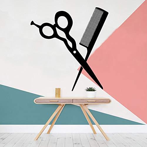 XCJX Barber Shop Wandaufkleber Vinyl Art Design Raumdekoration Friseursalon Cut Hair Shop Lustige Verzierung Barber Shop Commercial 57X61CM