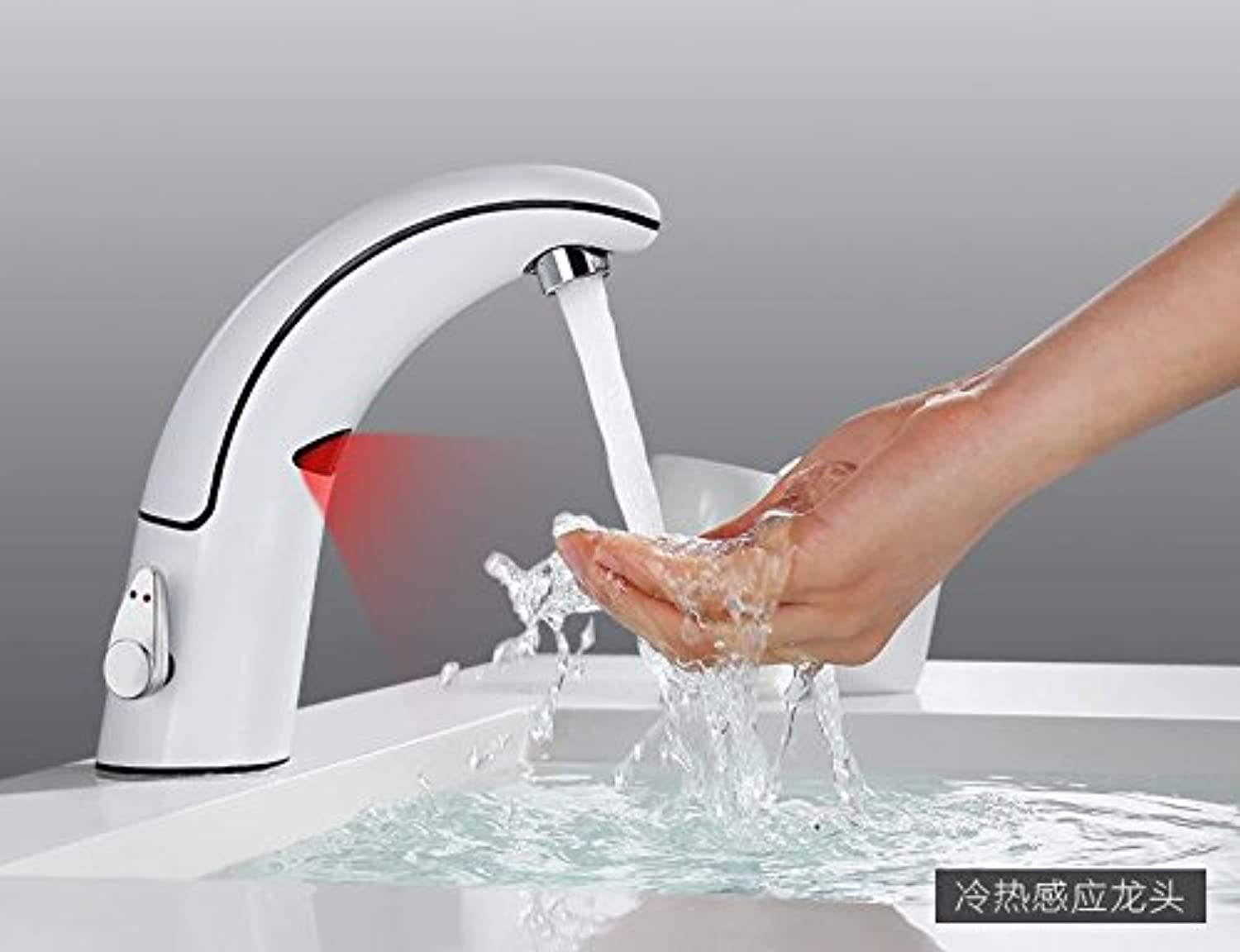 Mangeoo Single Handle Basin Faucet Single Hole Combined Cold And Hot Water Copper Ceramic Spool redating Wash Basin Kitchen Bathroom Faucet Basin Container