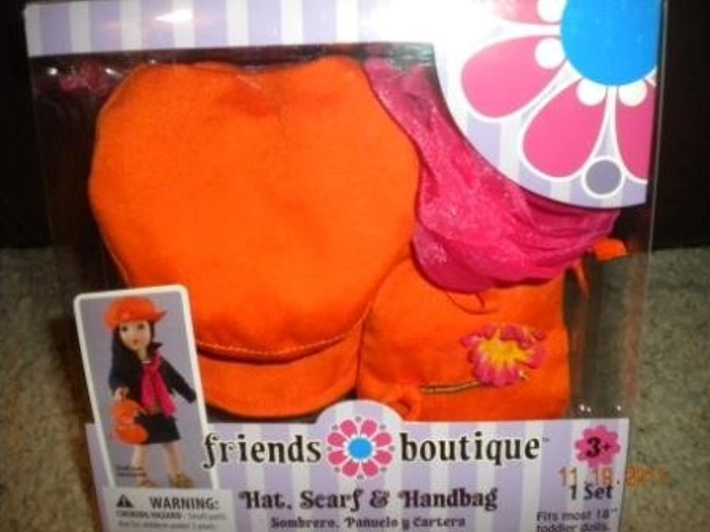 Friends Boutique for 18 Dolls Hat, Scarf & Handbag by Friends Boutiqe