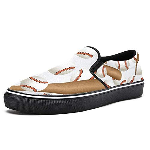 TIZORAX Baseballschläger und Bälle Sport Muster Slipper Loafer Schuhe für Frauen Mädchen Fashion Canvas Flache Bootsschuhe, Mehrfarbig - mehrfarbig - Größe: 40.5 EU
