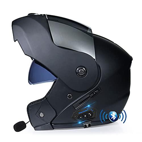 Bluetooth Integrado Casco De Moto Modularcon Doble Visera en Integrado de Intercomunicación Sistema de Comuni Adultos Unisex para Respuesta Automática ECE Homologado(Color:H,Size:M=57-58CM)