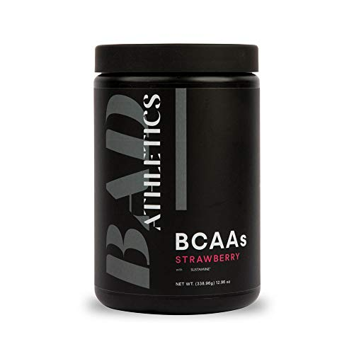 Bad Athletics Strawberry BCAAS for Women - Helps Repair and Maintain Lean Muscle Mass, Stimulant Free, Hydration Blend & Scientifically Proven 2:1:1 BCAA Ratio - 30 Servings
