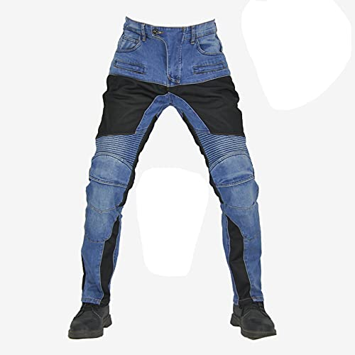 Motorbike Motorcycle Armoured Jeans Pant Denim Trousers with Safety Protection - Jeans with 2X Knee Guards 2X Hip Guards for Men Boys