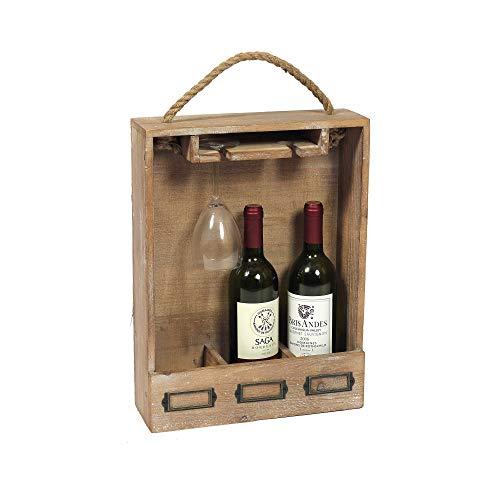 HTI-Line Weincaddy Flaschenträger Pinot Weinträger Saft Bier Milch Sekt Kiste für 3 Flaschen Holzkiste Flaschentragekorb Vintage
