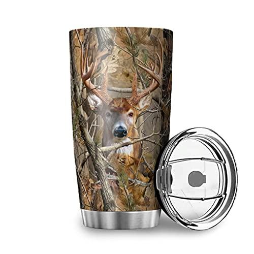 Tobgreatey Vaso de acero inoxidable aislado al vacío, 600 ml, con tapa abatible, diseño de ciervo, color blanco