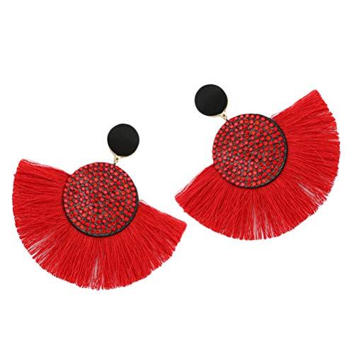 Neborn Pendientes de borla bohemio declaración de lujo pendiente largo día de san valentín hecho a mano mujeres geométricas flecos moda rhinestone grande (Rojo)