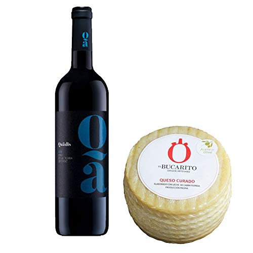 Pack de Vino tinto Quadis Joven y Queso Curado en Aceite de Oliva Pasteurizado - Vino de 75 cl y Queso de 850 g aprox - Mezclanza
