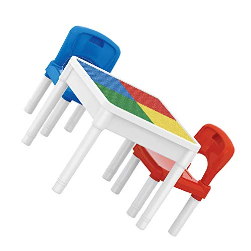 YuuHeeER Mesa de actividades de construcción con dos sillas 3 en 1 multiusos, taburetes de senderismo, 1 unidad