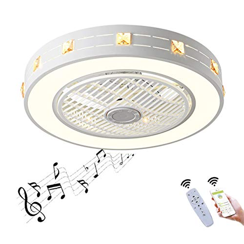 YAOXI - Ventilador de techo con Bluetooth LED y mando a distancia, silencioso, plafón, ventilador moderno, salón regulable, 50 cm