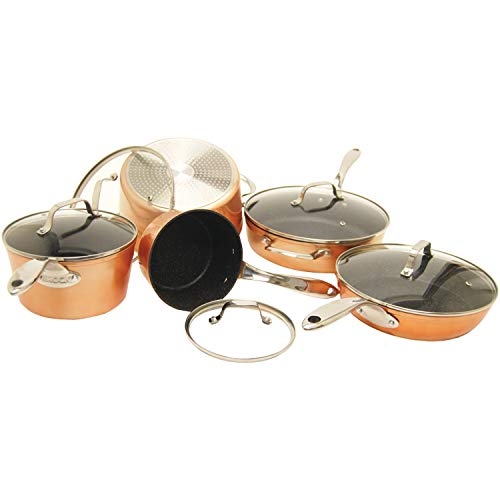 THE ROCK by Starfrit 030910-001-0000 10-Piece Cookware Set, Copper, Black, 26.7in x 15.1in x 9.5in