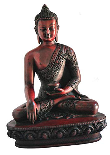 mytibetshop Earth Touching Buddha Statue Red for Meditation, Alter and Home.i Indoor or Outdoor