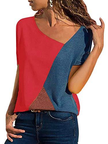 T-Shirt Damen V Ausschnitt Kurzarm Sommer Casual Farbblock T Shirt Top Bluse Oberteil (Kurzarm-Rot, Medium)