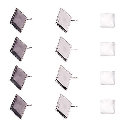PandaHall 40 Paquete de Pernos de aretes Cuadrados de 12 mm Base en Blanco Resultados de la Bandeja Ajuste del Bisel Cabochon DIY Craft (Plata y Bronce)