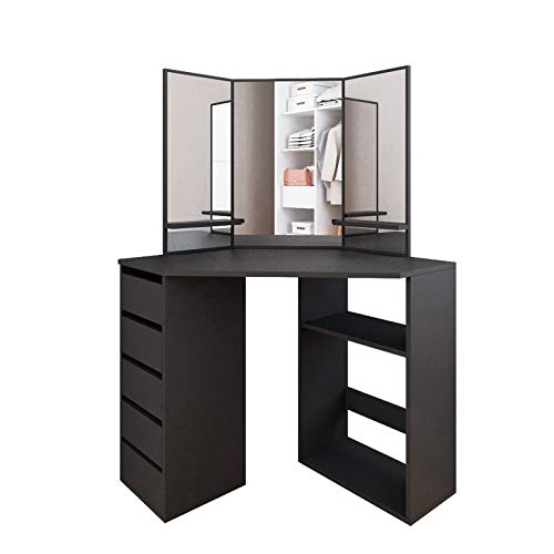 LYBOHO Fine Corner Dressing Table Vanity Mirror Set - Modern Storage Cabinet Makeup Desk with Three-Fold Mirror and 5 Drawers Wooden Bedroom Vanity Table for Women Girls 【Ship from U.S.】(Black)