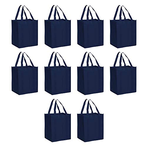 Reusable Grocery Tote Bags - 10 pack - Large Handle for Easy Transport - Heavy Duty Foldable Collapsible - Navy Blue